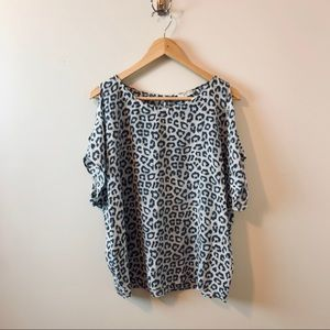 Joie 100% Silk Cold Shoulder Animal Print Top